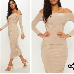 Nude midi off the shoulder dress